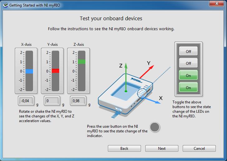 Giao diện kiểm tra các cảm biến và thiết bị